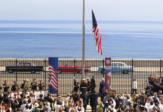 The US flag raised in Havana, marking the re-opening of the US Embassy in summer 2015