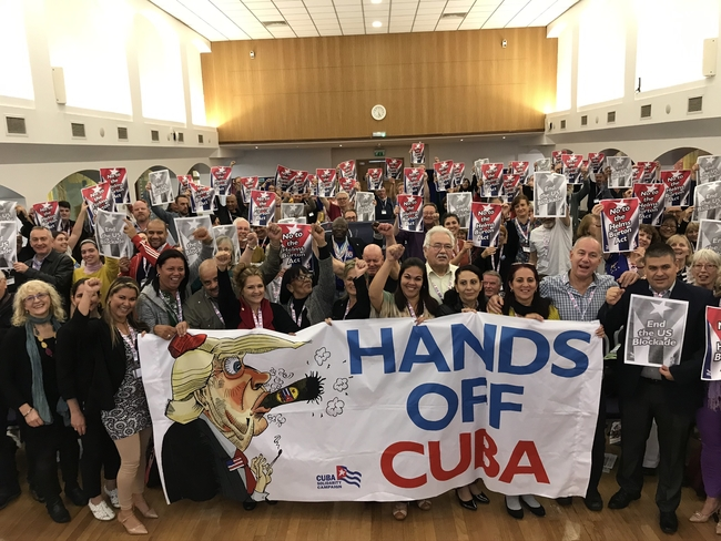 Cuban guests and British delegates send a message of solidarity to Cuba