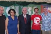 Steve Gillan, POA General Secretary, H. E. Teresita Vicente, Cuban Ambassador, John McDonnell MP, Peter Pinkney, RMT President & Mick Cash, RMT General Secretary