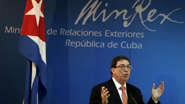 Cuba's Foreign Minister Bruno Rodriguez presents the annual report on the effects of the US blockade at a press conference in advance of the UN vote next month