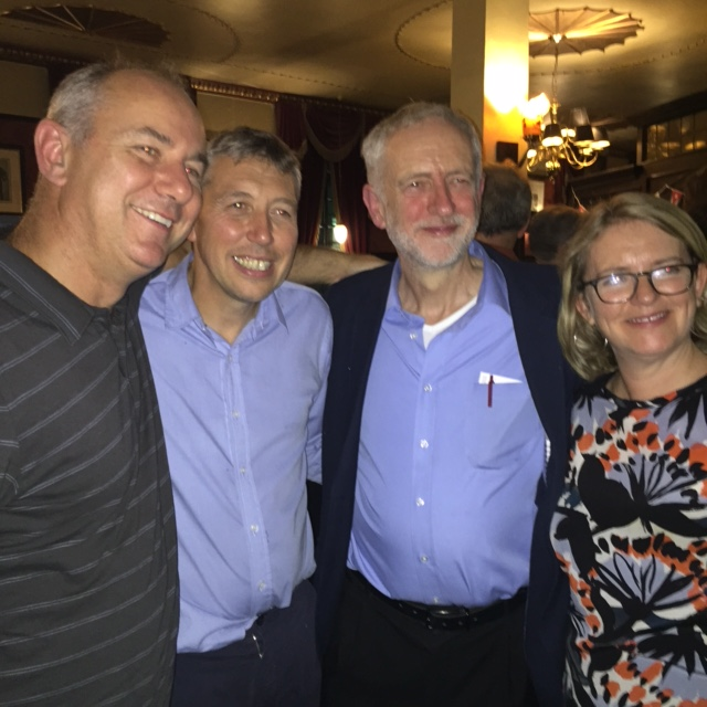 Cuba Cyclists Rob Miller, Mike Hedges and Jayne Fisher with Jeremy Corbyn MP