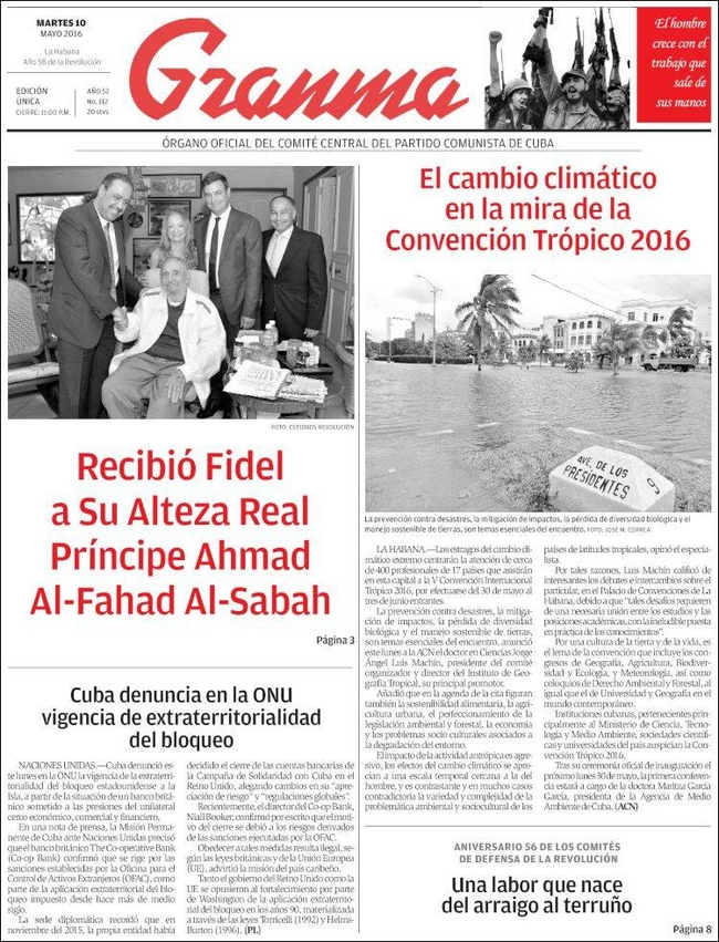 Granma Front Page, 10 May 2016, featuring the CSC Co-op Bank closure