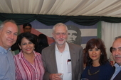 Rob Miller, CSC Director, Teresita Vicente, Cuban Ambassador,  Jeremy Corbyn, Labour Leader, Laura Alvarez and Antonio Rodríguez Valcarcel, Cuban Embassy Minister Counsellor