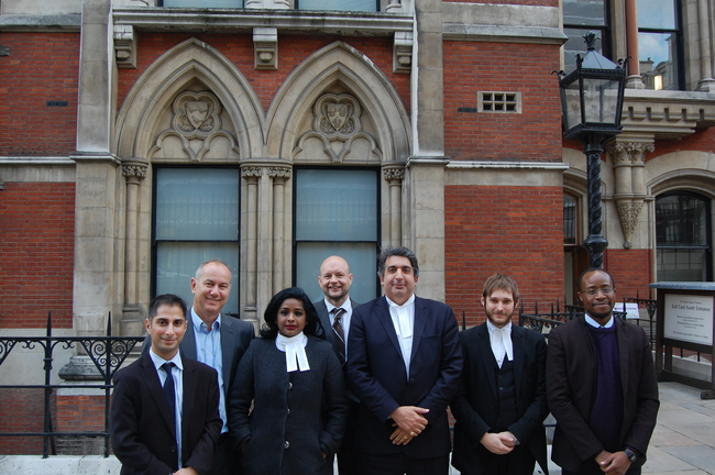 Mohamed Elmaazi, Rob Miller, Cuba Solidarity Campaign Director, Barristers Shivani Jegarajah and Mark McDonald and the legal team outside the Royal Courts of Justice