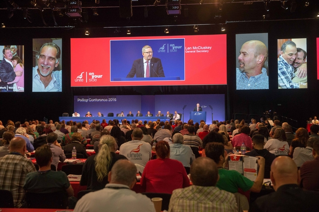 Len McCluskey introducing Rene and Gerardo at Unite Conference: photo Mark Thomas