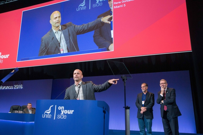 Gerardo speaking at Unite Conference: photo Mark Thomas