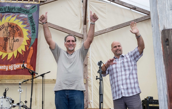 Rene and Gerardo receive a standing ovation at Tolpuddle Festival: photo Mark Thomas