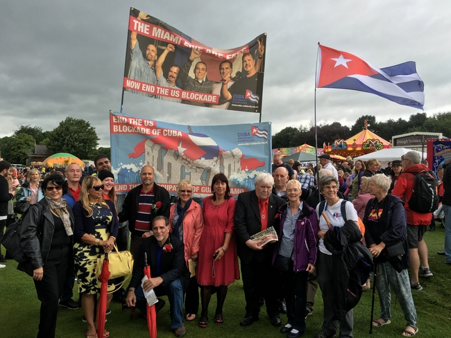 Rene and Gerardo with CSC supporters the late general secretary of the Durham Miners' Association, Davey Hopper