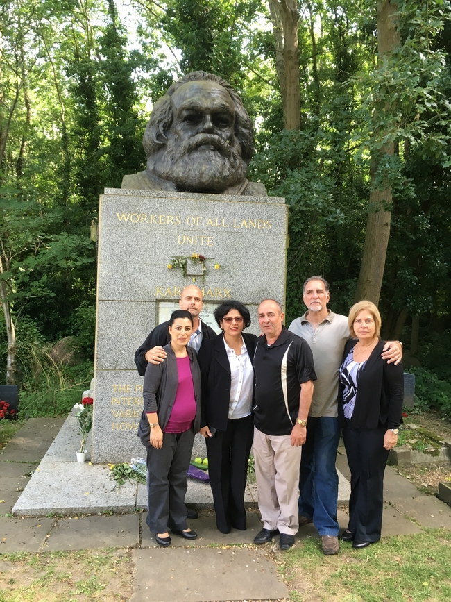 Rene, Gerardo, and the Cuban ambassador with their partners at Karl Marx's tomb