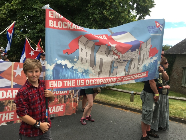 Carrying banners on the Tolpuddle Festival march