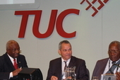 Eddy Brown translating for the CTC's Salvador Mesa and Raymundo Navarro at the TUC Congress in 2009