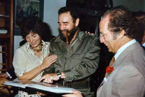 Fidel Castro with Pierre Elliott and Margaret Trudeau during their state visit to Cuba in 1976