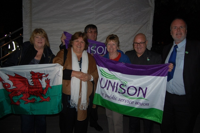 Eric Roberts (second from right) pictured with Che's daughter, Aleida Guevara(second from left), and members of Unison's NEC at the 2012 Vigil for the Miami Five