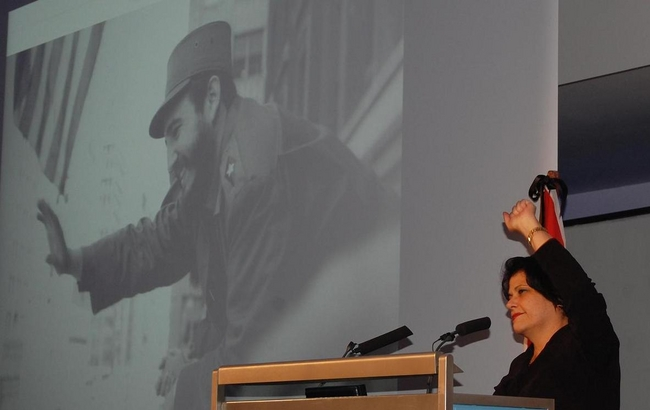 H.E. Teresita Vicente at the London Memorial for Fidel Castro