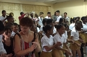 NUT delegates join in a performance at a school in Pinar del Rio