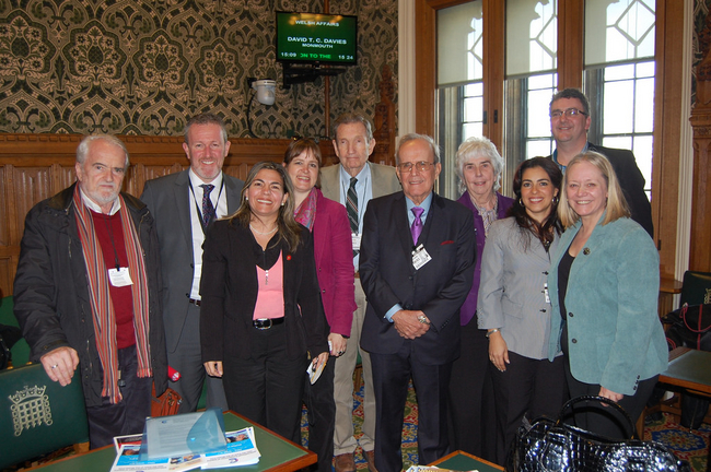 Kenia Serrano pictured with MPs and MEPs in the House of Commons for meeting on the Miami Five in March 2014