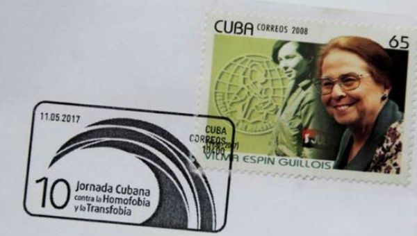 The first stamp, featuring revolutionary feminist Vilma Espin, was launched at the 10th Cuban Assembly Against Homophobia and Transphobia.