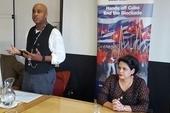 Marcos Garcia, Venezuelan Embassy, Roger McKenzie, UNISON AGS and H. E. Teresita Vicente, Cuban Ambassador