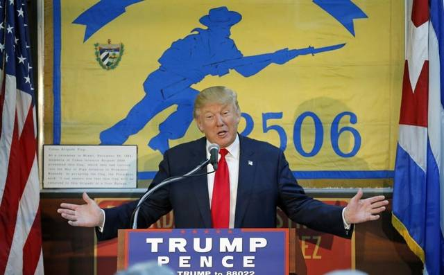 Trump speaks to the Brigade 2506 - veterans from the Bay of Pigs Invasion - during his presidential campaign