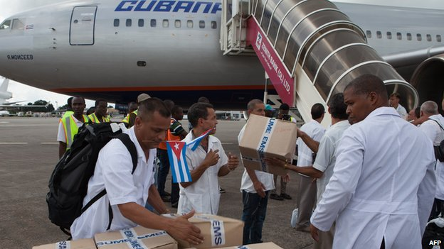 Cuban doctors arrive in West Africa during the 2014 Ebola outbreak