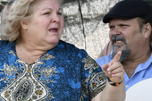 Aleida Guevara March and her brother Camillo attend a commemoration in Bolivia of the 50th anniversary of their father's death