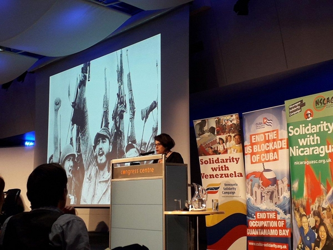 Teresita Vicente, Cuban Ambassador, speaking at the Latin America Conference