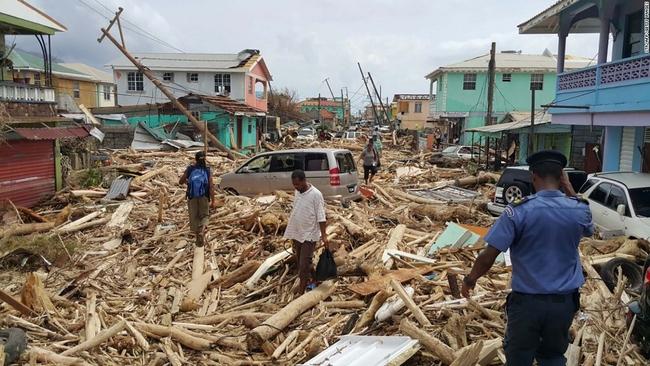 Hurricane damage in Roseau, Dominica