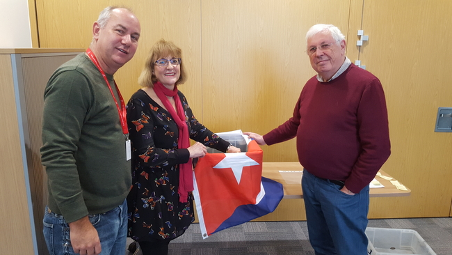 CSC Director Rob Miller, Chair Diana Holland and National Secretary Bernard Regan drawing the winners of the 2017 Blockade Buster Raffle