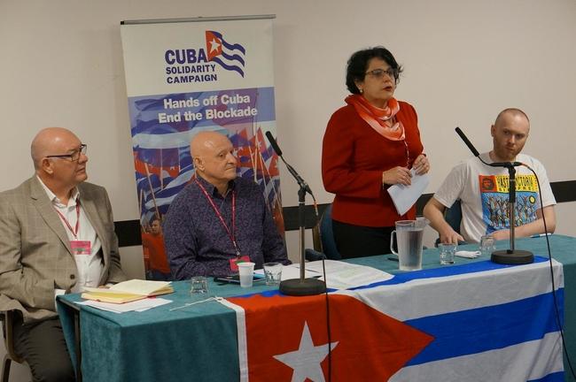 Dave Ward, CWU General Secretary, Allan Eldred, CWU Assistant Secretary, Teresita Vicente, Cuban Ambassador and Jamie George, CWU Youth Officer