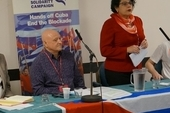 Dave Ward, CWU General Secretary, Allan Eldred, CWU Assistant Secretary, Teresita Vicente, Cuban Ambassador and Jamie George, CWU Youth Officer