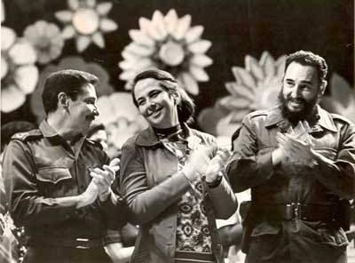 Vilma Espin with Raul and Fidel Castro