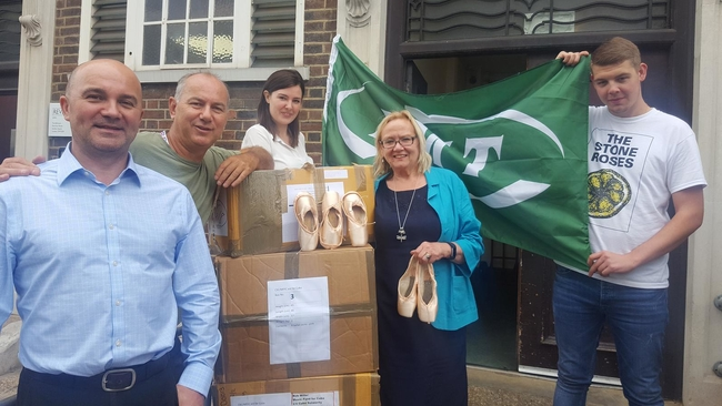 The ballet shoes are being stored by the RMT before they are shipped to Cuba