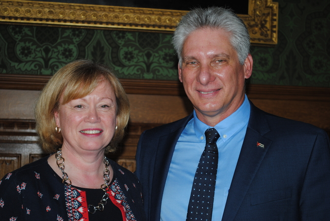 Baroness Angela Smith, Labour Leader of the House of Lords and Miguel Diaz-Canel, President of Cuba