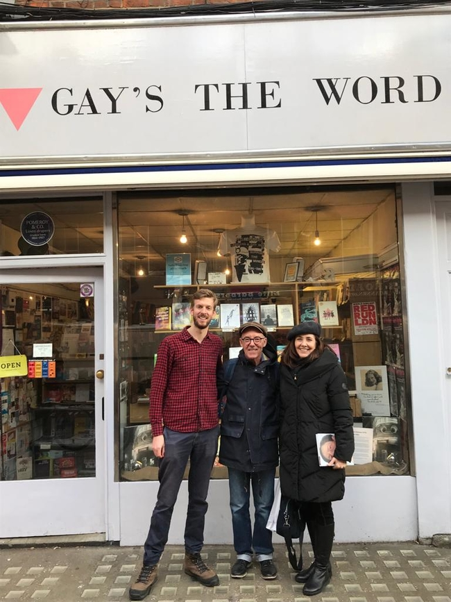 Ollie Hopkins, CSC Campaigns Officer, Mike Jackson, LGSM Secretary and Mariela Castro at the Gay's the Word bookshop