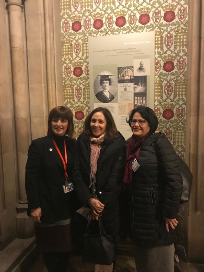 Karen Lee MP, Mariela Castro and Teresita Vicente, Cuban Ambassador, in the Parliamentary Crypt where Suffragette Emily Davison hid