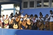 The NEU delegation visited a music school in Havana