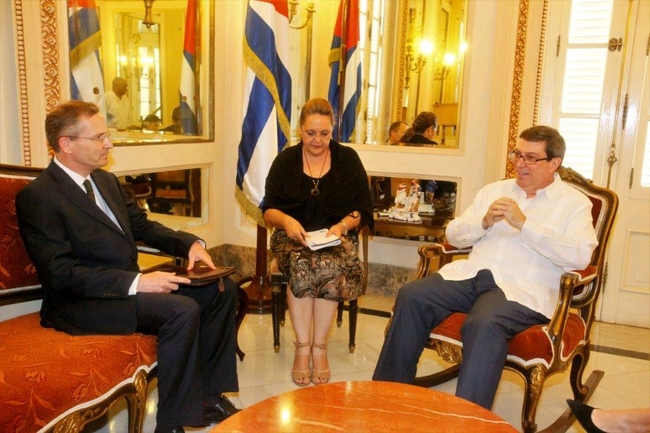 Antony Stokes, UK Ambassador and Bruno Rodriguez, Cuban Foreign Minister met in Havana