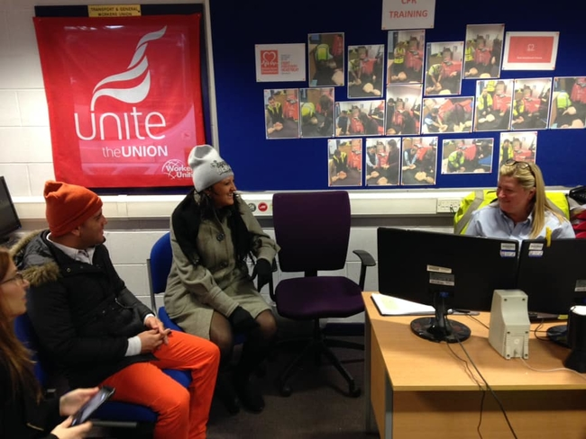 Discussing lifelong learning and trade union education courses with Unite NE 302/36 Leeds Bus Workers