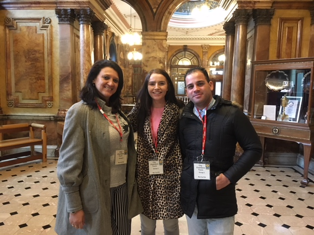 Yelena and Yuniel with Unite Scotland Young Members Committee chair Erin McAuley at Glasgow's City Chambers