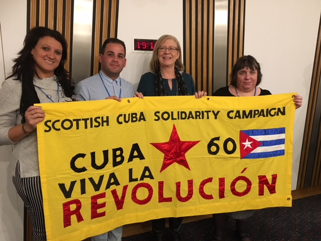 The Cuban trade unionists with Elaine Smith MSP and Kath Cambell, Scottish CSC