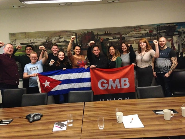 Yuniel and Yelena at GMB's National Office in London, with young members and officials