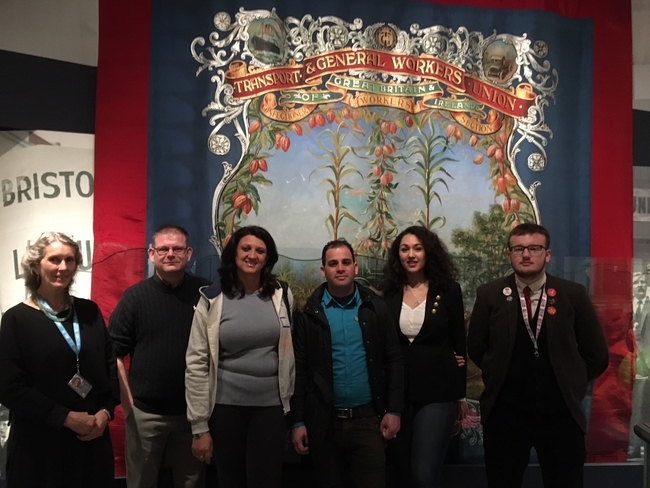 At the MShed museum with Unite South West young members officer, chair and vice chair of young members committee