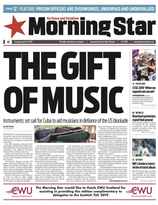 The Morning Star front page on Tuesday 16 April was an article on the Play for Cuba appeal