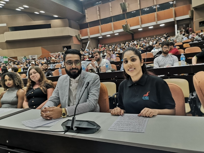 Asif Mohammed, Unite West Midlands delegate and Jess Sangha, Unite North East, Yorkshire and Humberside Region spoke at the International Solidarity Conference