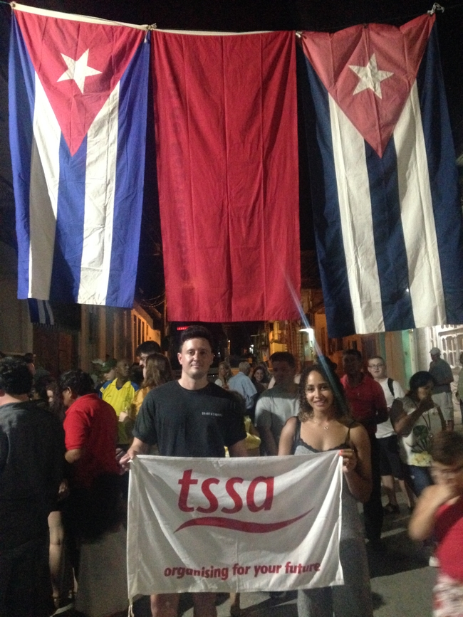 TSSA delegates James Walford and Harriet Miller at CDR event in Sancti Spiritus