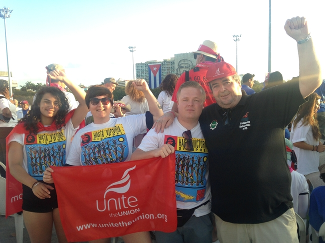 Unite delegates Becky Boumelha, Frankie Leach and Damian Bailey with Tony Woodhouse, Unite EC Chair on May Day, Havana