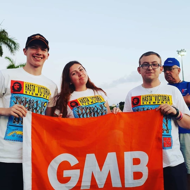 GMB delegates Patrick Benham, Gemma Dinsdale and Dean Ismay during the May Day rally
