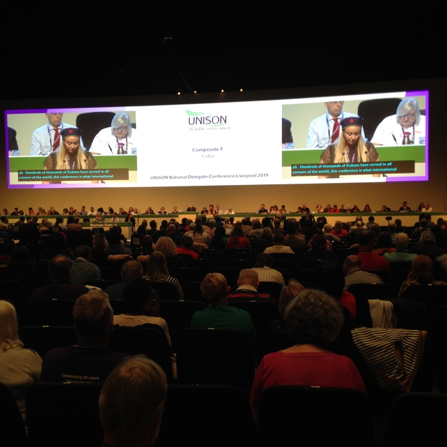 UNISON North West delegate Tracy Delaney speaking in support of the Cuba motion