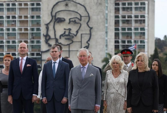 Prince Charles and the Duchess of Cornwall at Havana's Revolution Square