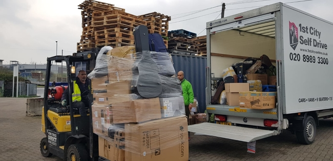 Unloading the truck at the freight depot in Essex